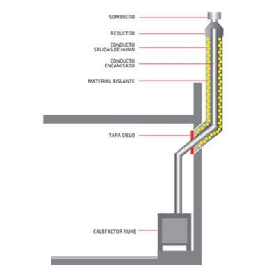 Kit de tubo con platina y codo galvanizado 250 mm