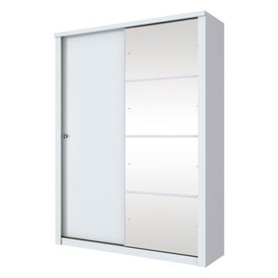 Placard 2 puertas corredizas con espejo y con 3 cajones blanco