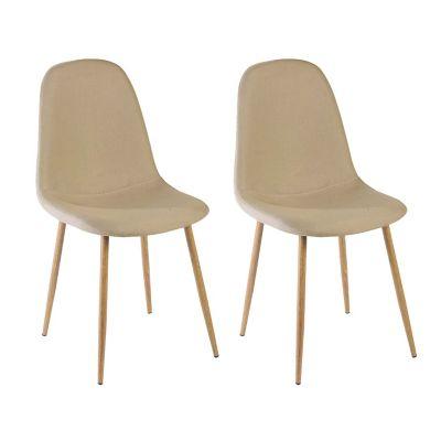 Pack de 4 sillas de comedor Scandia beige