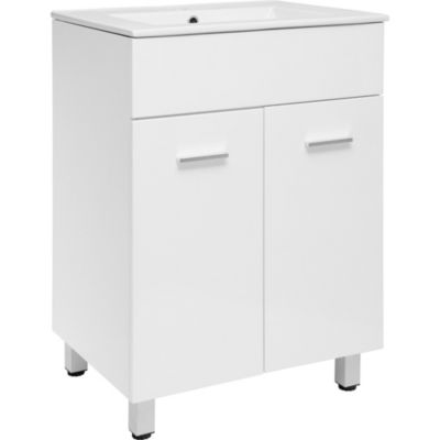 Mueble de baño vanitorio abrantes blanco brillante con lavamanos 60 cm