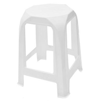 Banqueta de plástico blanca