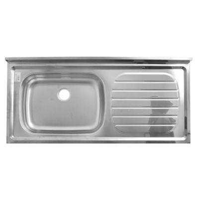 Mesada bacha izquierda de acero inoxidable 120 x 52 cm plateada