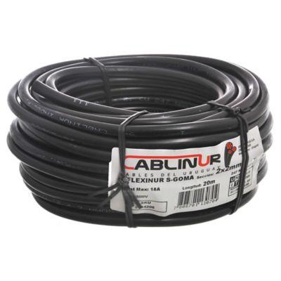 Cable bajo goma negro 2 x 2 de 20 m