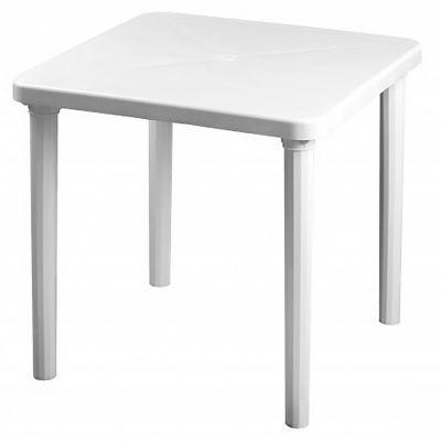Mesa de jardín Kina de PVC cuadrada blanca