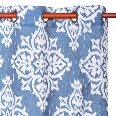 Cortina de tela Lino Medina 140 x 220 cm azul y blanco