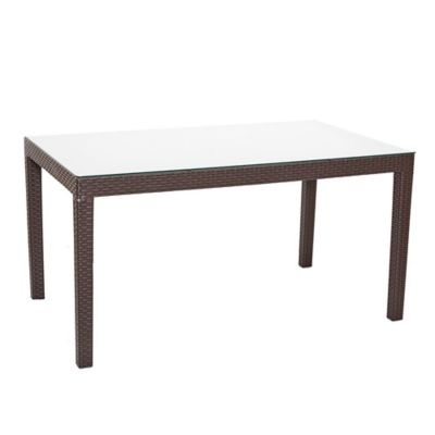 Mesa de jardín Tavarua de ratán rectangular marrón