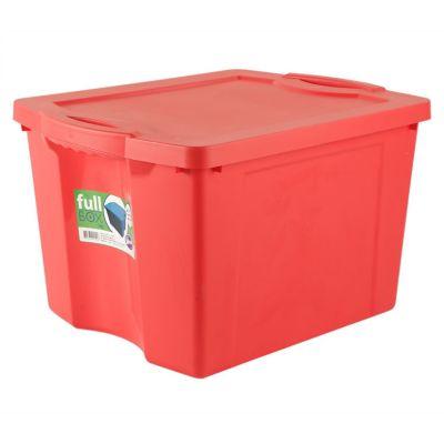 Caja organizadora de plástico con tapa Fullbox roja 75 L