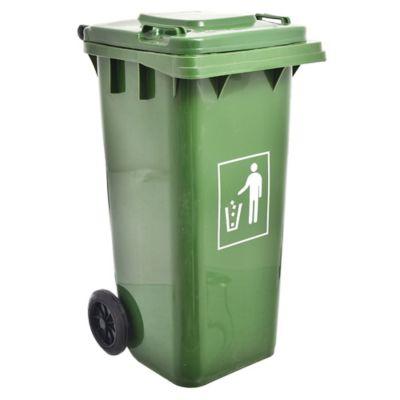 Basurero 120 L de plástico verde con ruedas y tapa