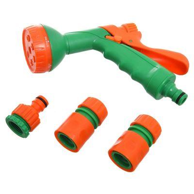 Set de 4 piezas con pistola plástica de 6 funciones