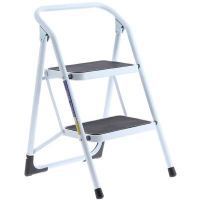Escalera tijera doméstica de aluminio 2 escalones blanca y negra