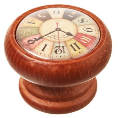 Pomo de madera Reloj Colores 4 cm