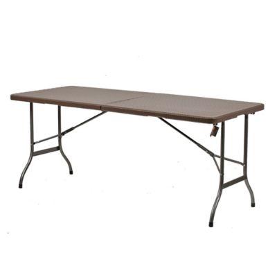 Mesa de jardín de ratán y plástico rectangular plegable marrón