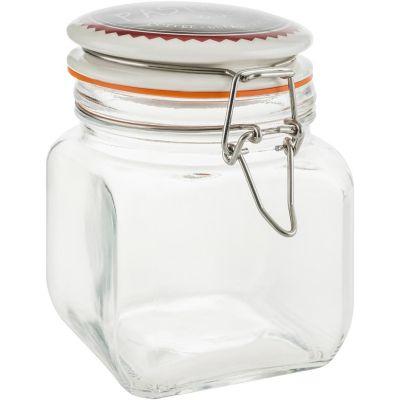 Frasco de vidrio con tapa de 700 ml Café