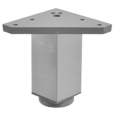 Pata cuadrada de metal plateada con regulador 4 x 10 cm