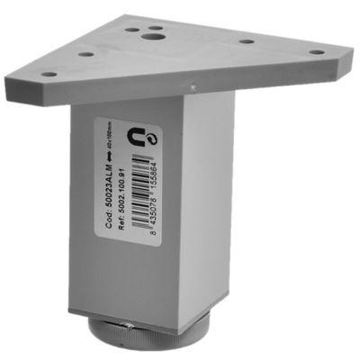 Pata cuadrada de aluminio gris con regulador 4 x 10 cm