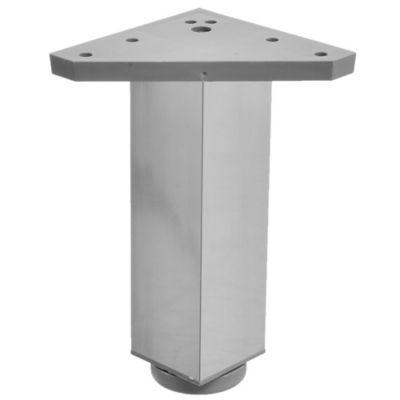 Pata de metal plateada cuadrada con regulador 4 x 15 cm