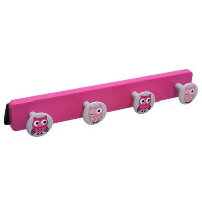 Perchero de pared Búhos con 4 ganchos de plástico rosa