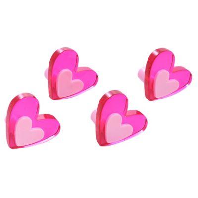 Pack 4 tiradores Corazón magenta 4,2 x 3,7 cm