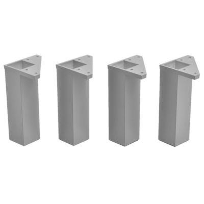 Pack 4 patas cuadradas gris 15 x 4 cm