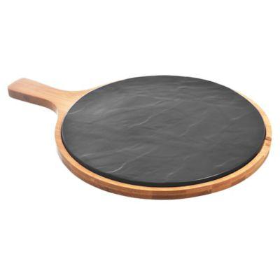 Tabla de porcelana negra con base de bamboo