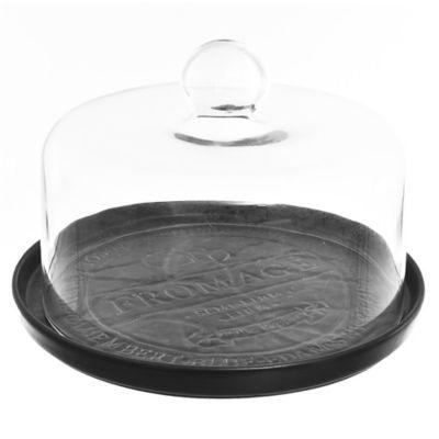 Tabla de porcelana negra y cúpula para quesos 23,5 x 18 cm