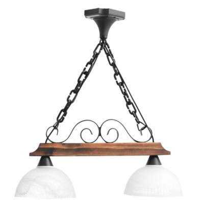 Lámpara colgante de madera y hierro 2 luces E27
