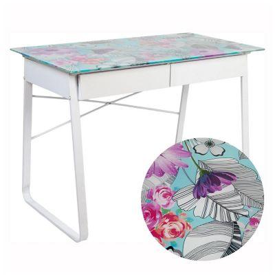 Escritorio Floral de metal y vidrio con 2 cajones blanco