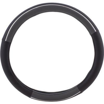 Cubre volante negro y gris con plateado