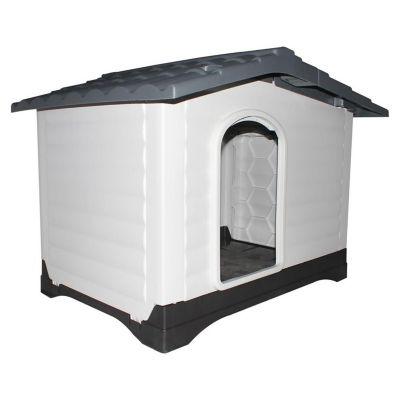 Casa para perro gris y blanco 80.4 x 83.8 x 111 cm con lado abatible