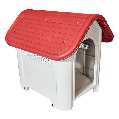 Casa para perro gris y rojo 75 x 59 x 66 cm