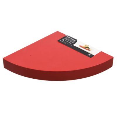 Estante de madera flotante esquinero rojo 25 x 25 x 3,8 cm