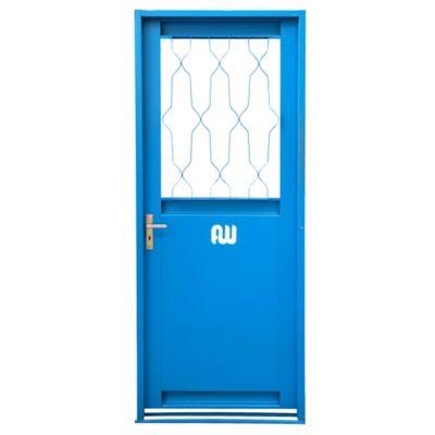 Puerta con ventana de chapa simple izquierda 81 x 202 cm
