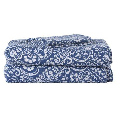 Plumón y juego de sábanas Paisley azul 1,5 plazas