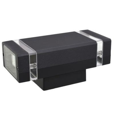 Aplique exterior cuadrado bidireccional negro 2x GU10
