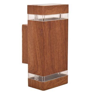 Aplique exterior cuadrado bidireccional madera 2x GU10