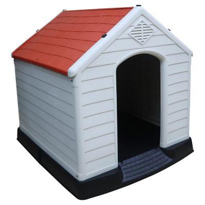 Casa para perro gris y rojo 105 x 100 x 97 cm