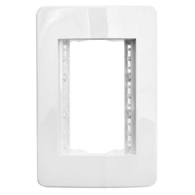 Plaqueta con bastidor 3 módulos blanco