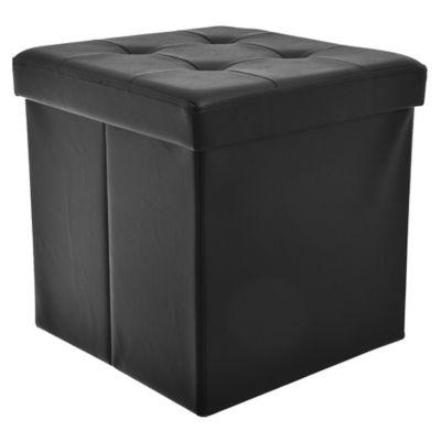 Puff baúl negro 38 x 38 x 38 cm