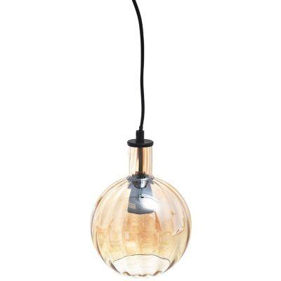 Lámpara colgante globo Cristal Ámbar E27