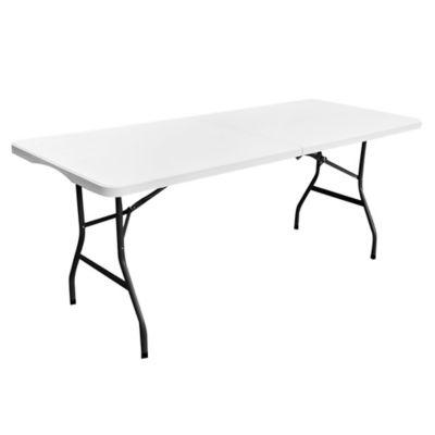 Mesa plegable rectangular blanca tipo maleta 180 cm