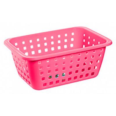 Canasto organizador de plástico rosa 5,2 L