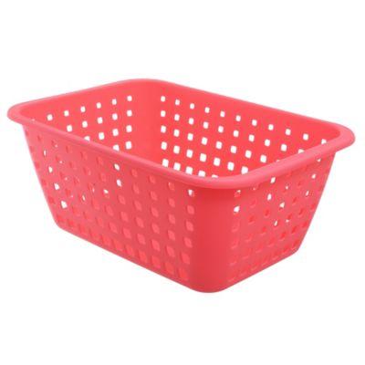 Canasto organizador de plástico rosado 13,8 L