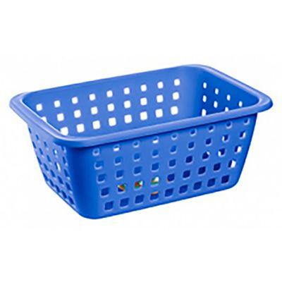 Canasto organizador de plástico azul 14 L