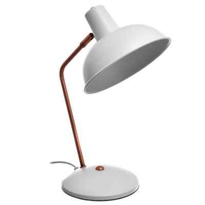 Lámpara de escritorio blanco y bronce 1 luz