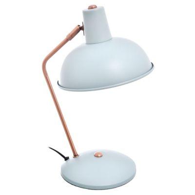 Lámpara de escritorio verde agua y bronce 1 luz
