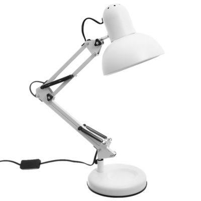 Lámpara de escritorio articulada de acero blanca 1 luz E27