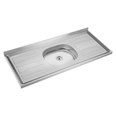Mesada bacha central de acero inoxidable 120 x 52 cm plateada