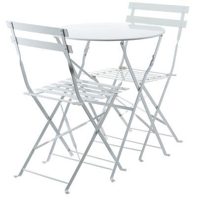 Juego de balcón Arezzo de acero 3 piezas blanco