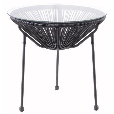 Mesa ratona de jardín Cozumel de ratán PE redonda negra