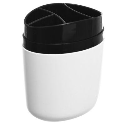 Portacepillo de plástico Full blanco y negro